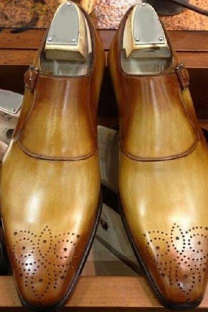 Men's Two tone Monk Brogue Handmade Decent Leather Shoes
