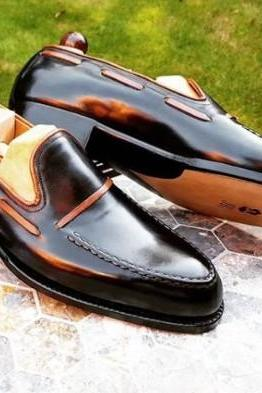 Black Leather Double Loafer Casual Shoes Sale Price