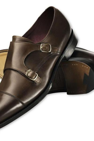 Choclate Brown Men Plain Tip Toe Cap Double Buckle Strap Monk Pure Leather Shoes